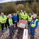 © Mike Poloway/+44(0)1618503338 / mike@poloway.com.  Canal and River Trust volunteers working on towpaths on Rochdale canal running through Sowerby Bridge. 26 April 2016. Left to right: Richard Nichols, CRT Staff Jon Stopp, Kevin Booth, Nigel Stevens, Steven Beasley, Ian Jackson, Terry Potts, Diana Monahan.