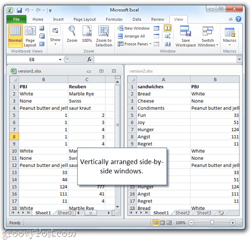 microsoft excel spreadsheet next to each other