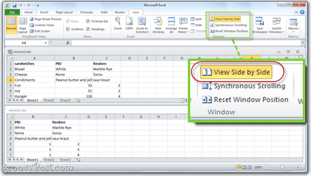 excel 2010 view side by side