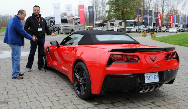 """Harry Ng and George Saratlic of General Motors of Canada, discuss the Corvette Stingray in the Prestige/Performance over 75k category, in """"real world"""" back to back testing at """"Test Fest"""" in Niagara Falls on Tuesday, October 21st"""