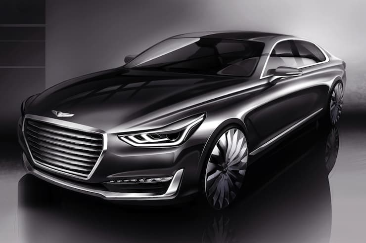 hyundai announces genesis luxury brand with genesis g90. Black Bedroom Furniture Sets. Home Design Ideas