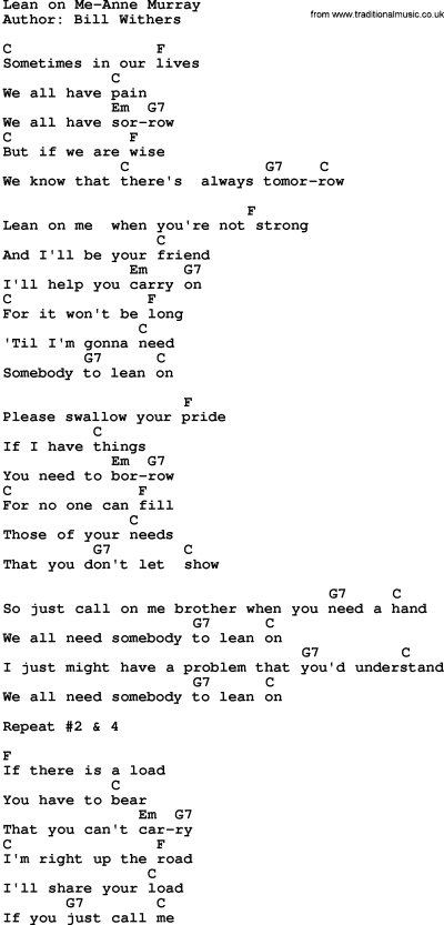 Country Music:Lean On Me-Anne Murray Lyrics and Chords