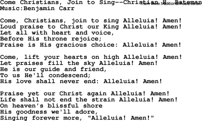 Wedding Hymns and songs: Come Christians, Join To Sing.txt ...