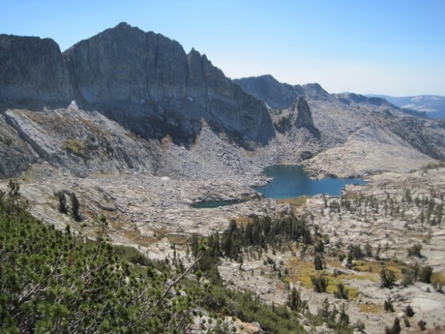 Our camp from the ridge above May Lake