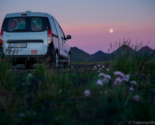 Camper van Iceland night shot