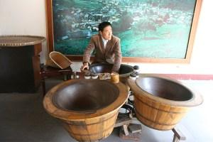 Tea processed by hand at Dragon Well Tea Plantation Hangzhou, China