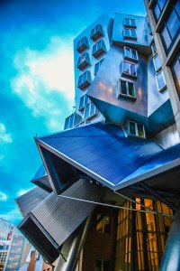 The funky Stata building at MIT. Apparently it's so impractical and poorly built that the architects are being sued.