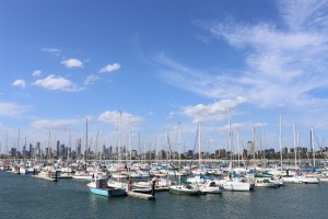 Once the rain had clearaed, the view of Melbourne's skyline from the harbour at St Kilda was beautiful.