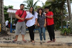 Indra, his sister and their wedding-planning team on Pantai Base G
