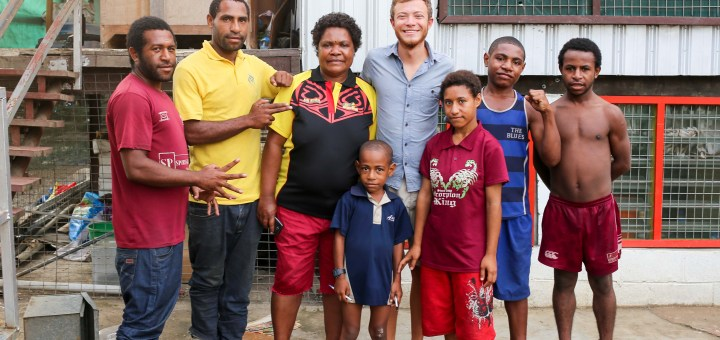 Charles and his family in Lae