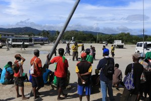 A street preacher by the central square in Wewak