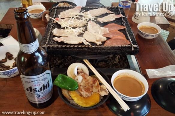 japan gifu otaki cave stone grill lunch asahi beer
