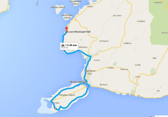 bohol by motorcycle route map day1