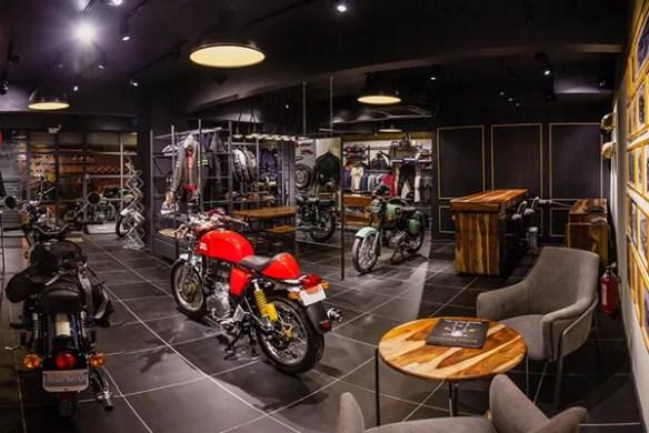 royal enfield motorycle shoroom concept store interiors