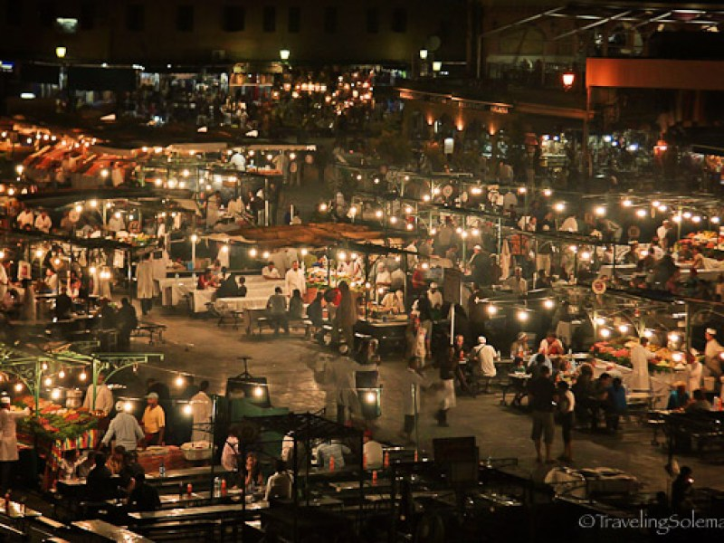 Food stalls in Djemaa el Fna at night Marrakesh