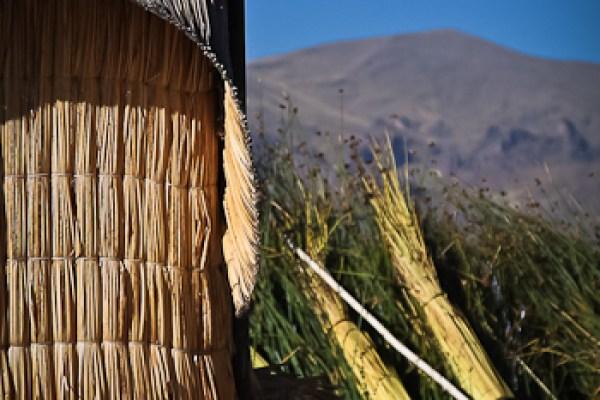 Solar panel on Floating Island of the Uros, Lake Titicaca, Peru