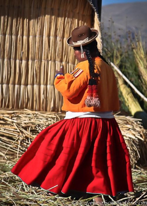 Woman in Floating Island of the Uros, Lake Titicaca, Peru
