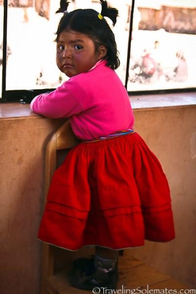 Little girl on Taquile Island, Lake Titicaca, Peru
