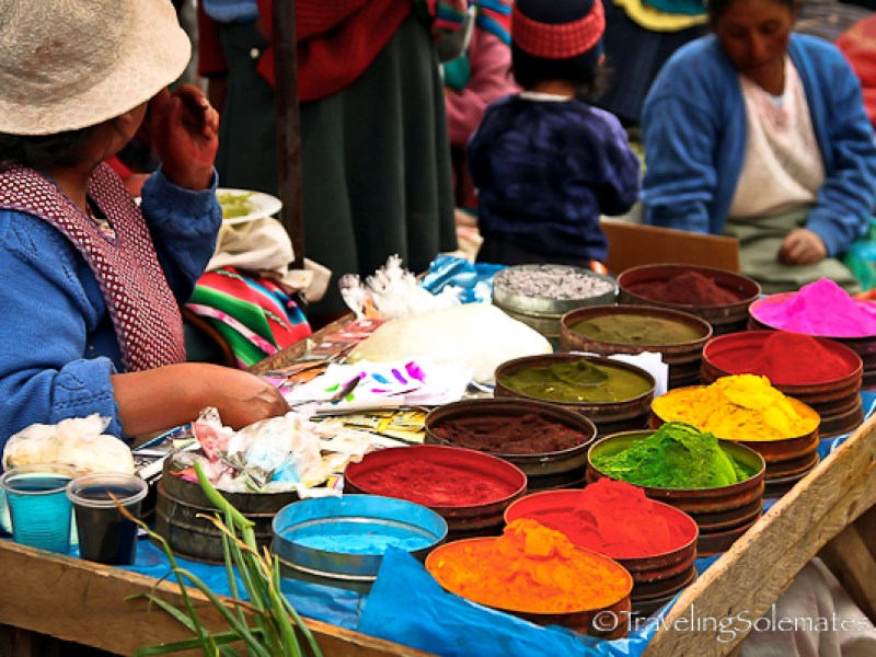 Dyes for sale at Pisac Market Peru