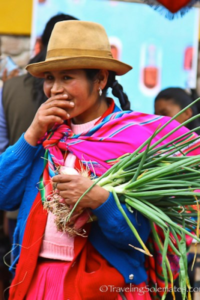 Giggly shopper in Pisac Market in Peru