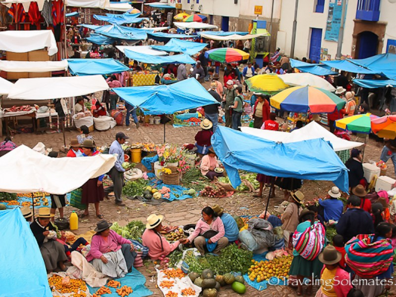 Vegetable stalls in Pisac market in Peru