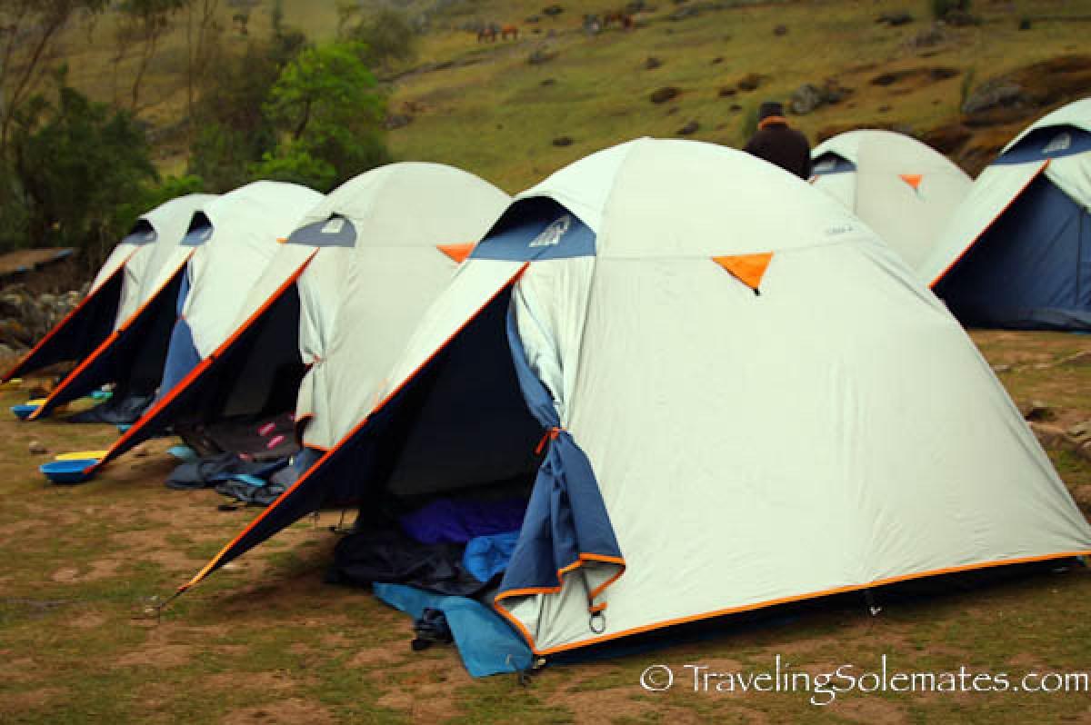First campsite on Lares Valley Trek Peru