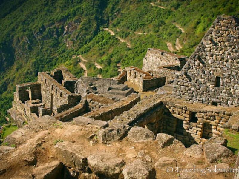 Ruins and zigzag road in Machu Picchu