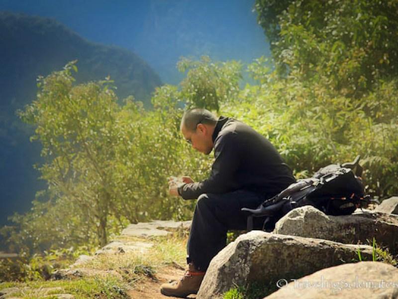 Contemplating in Machu Picchu