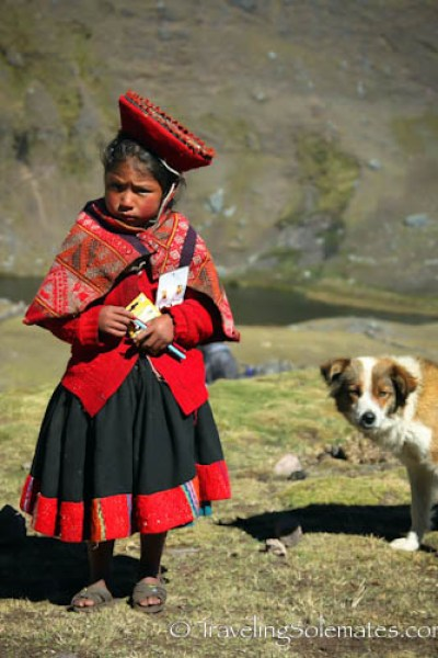 A girl and a dog on Lares Valley Trek Peru