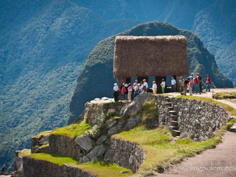 Visitors in Hut of the Caretaker in Machu Picchu