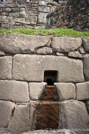 Water streams connecting ceremonial baths in Machu Picchu