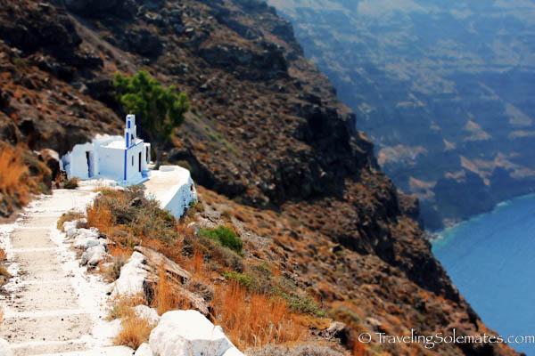 Chapel on a cliff, Santorini, Greece