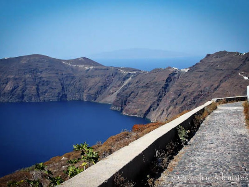 Hiking trail on a caldera, Santorini, Greece