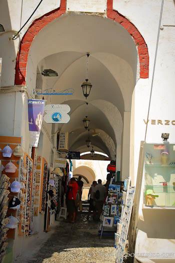 Shopping street in Fira, Santorini, Greece