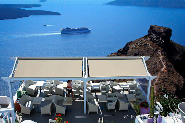 Cafe on the cliff, Imerovigli, Santorini, Greece