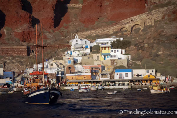 View of Ammoudi from Sunset cruise, Santorini, Greece