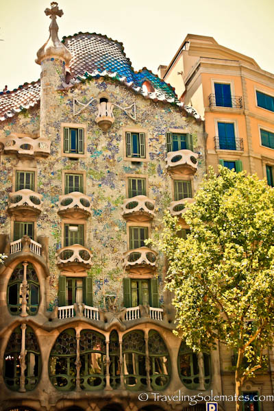 Facade of Gaudi's Casa Battlo, Barcelona, Spain