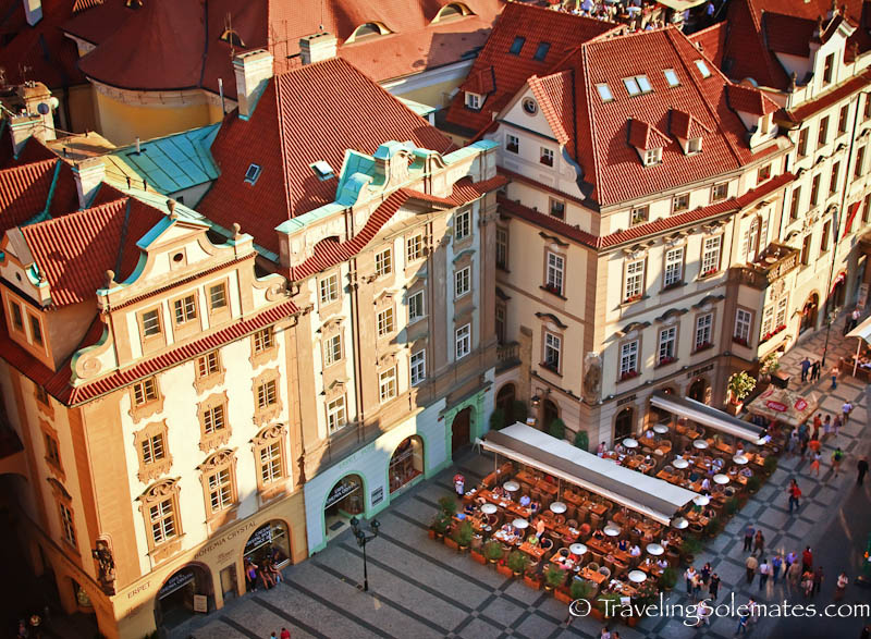View of colorful buildings and outdoor cafes from Old Town Hall Tower, Prague, Czech Rep
