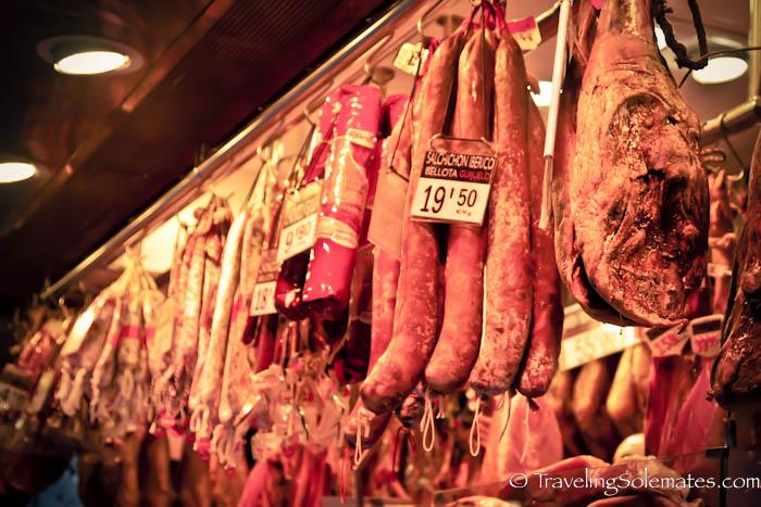 Meat for sale in La Boquería, Barcelona, Spain