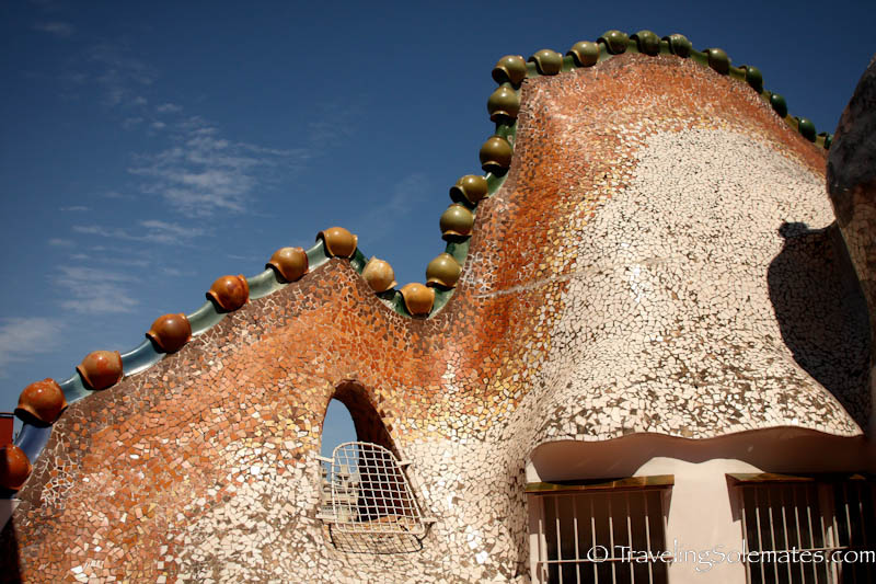Rooftop of Gaudi's Casa Battlo, Barcelona, Spain