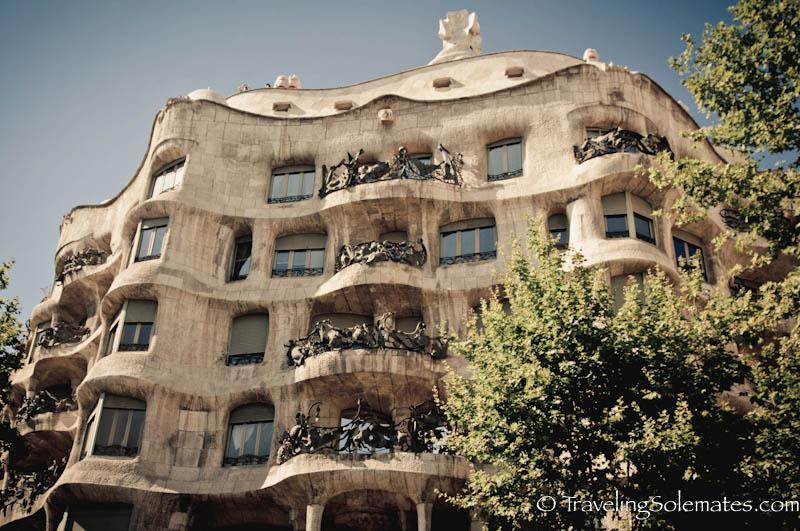 Facade of Gaudi's Casa Mila (Casa Pedrera), Barcelona Spain