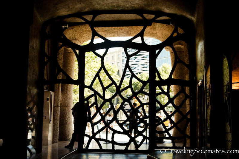 Gate of Gaudi's Casa Mila (Casa Pedrera), Barcelona Spain