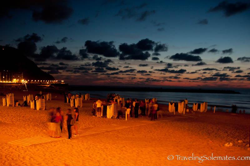 Playa de la Zurriola at Night, San Sebastian, Spain