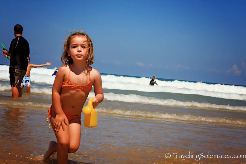 Little Girl in Zurriola Beach, San Sebastian, Spain