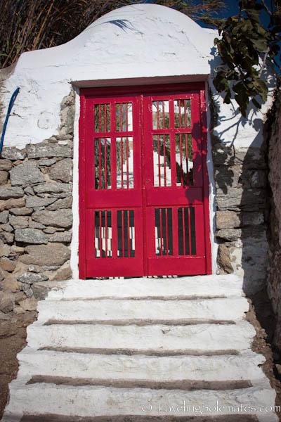 A red door in Mykonos, Greece