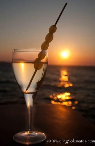 Wine at sunset, Little Venice,Mykonos, Greece