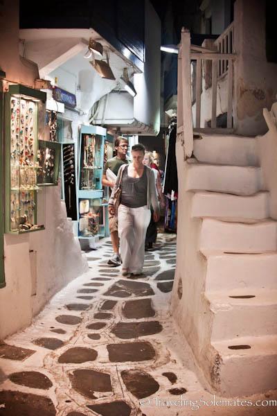 Shopping street at night Mykonos, Greece