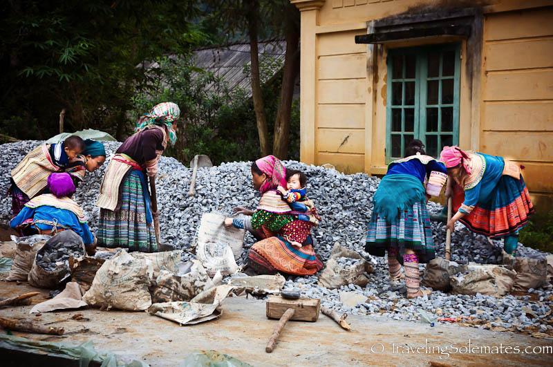 07-Flower Hmong Women working on road construction - Trekking in the Hillribe Villages around Bac Ha, Vietnam