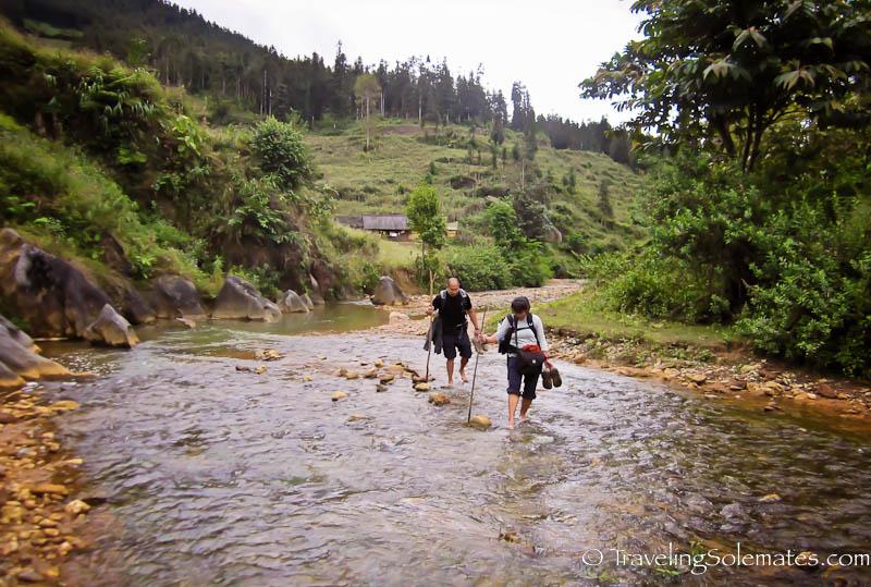 River Crossing - Trekking in the Hillribe Villages around Bac Ha, Vietnam