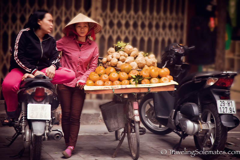 Fruit Vendor on a Bike, Old Quarter, Hanoi, Vietnam